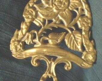 Vintage Brass Trivet Floral Pattern Kitchen Trivet Brass Decor Solid Brass Serving Trivet