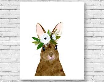 Watercolor rabbit, rabbit painting, Woodland Nursery, Animal Paintings, Deer, Animal Wall Art, Childrens Wall Decor, Kids Art, bunny