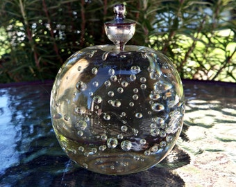 Vintage Bubble Glass and Silver Spherical  Paper Weight/ Bubble Glass Crystal Sphere/ Window Sun Catcher