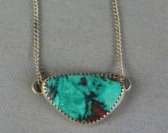 Sonora Sunrise Sterling Silver Chrysocolla Cuprite Gem stone Necklace