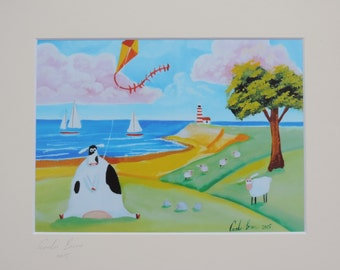 Cow flying a kite seaside signed mounted print Gordon Bruce new art