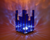 Candle Holder Cobalt Blue Stained Glass