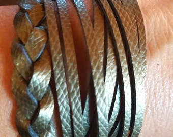 Leather wrap Cuff Green Shimmer Leather Braided Cuff Leather Jewelry Boho Fashion