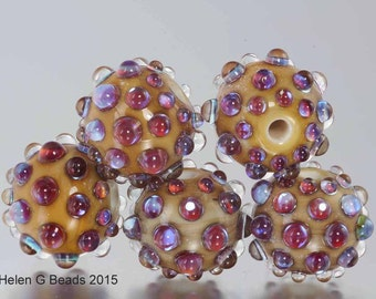 Bumpy, Lampwork Bead Set in ivory, pink and purple by Helen Gorick