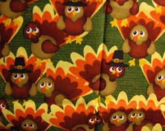 Thanksgiving Autumn Fall Fabric FQ Cute Smiling Pilgrim Brown, Orange and Yellow Turkeys on Green