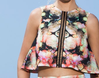Geometric floral printed blouse, cocktail top, minimalist top, geometric floral print.