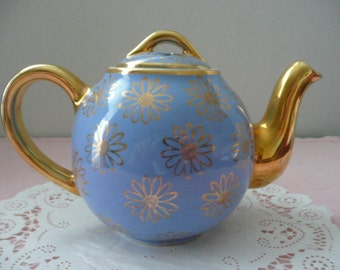 Hall 2 Cup Blue Daisy CeramicTeapot, Gold Handle and Spout
