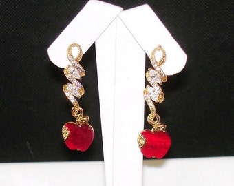 SHOP CLOSING SALE: Ashira Eves Garden Snake and the Apple - Delicate Long Gold Cz Earring