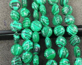 Synthetic Green Malachite Stone 10mm round coin beads- 38pcs/strand