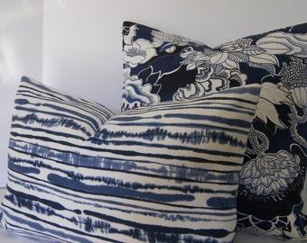 Blue Ikat Stripe Decorative Pillow Cover / Both Sides / Navy Blue / Indigo / Ivory / White