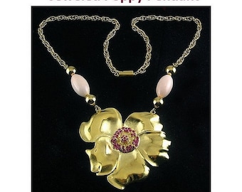 Old Stock POPPY Flower & Pink Rhinestone Pendant with Lucite Beads - NOS Vintage
