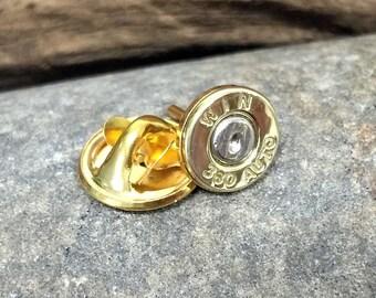Bullet Tie Tac / Winchester 380 Auto Brass Bullet Tie Tac / Hat Pin WIN-380-BN-TT / Bullet Hat Pin / Gold Hat Pin / Gold Tie Tac / Men's