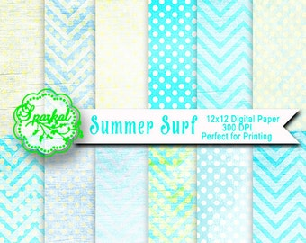 Blue Ocean Surf Themed DISTRESSED Digital Paper Printable 12X12  Scrapbooking paper, Blended Depth High Resolution, Instant Download
