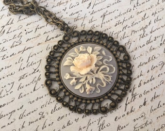 Vintage Flowers - long cameo necklace