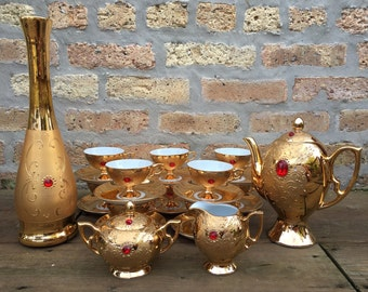 Flores Bavaria Gold Tea Set with red faux gems stunning 24 piece set tea pot, vase, cups and saucers, creamer, sugar 1950's, genie lamp look
