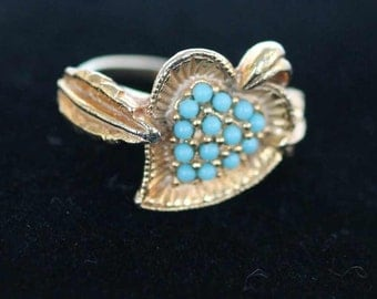 RING - pave TURQUOISE and GOLD adjustable ring - unusual adjustment