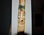 Carved Cedar Wood Harold  Spirit ofthe Holly Walking Stick