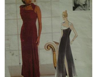 Off Shoulder Dress Pattern, Fitted to Hip, Slight Flared Skirt, Side Slit, Open Neck, Myrene de Promonville Vogue 1480 UNCUT Size 6 8 10