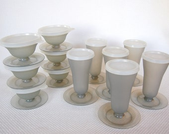 Set of Vintage Tupperware Parfait OR Dessert Cups OR Whole Set of 12 in Smoke Grey Color Complete with Seals