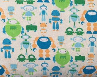 "Pillow Cover ""Roving Robots"" in Blues & Orange Linen/Cotton"