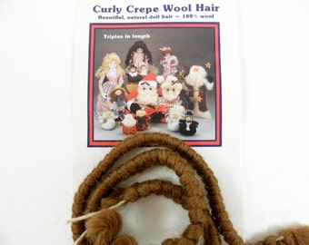 "2 - Curly Crepe Wool Doll Hair Brown by All Cooped Up 100% Wool, Two 12"" Lengths"