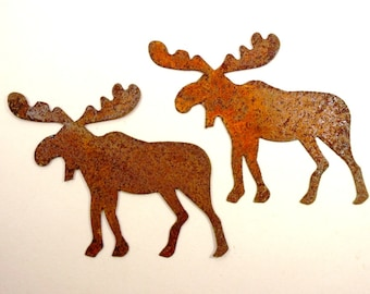 6 Rusty Moose Tin Cut Outs 6 Pieces