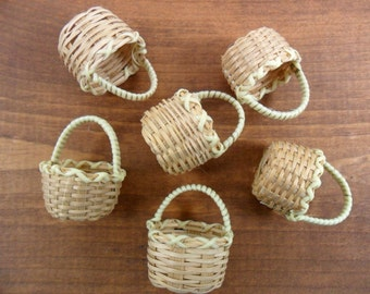 "6 Wicker Baskets Miniatures 1 1/2"" H x 1 1/4"" W x 3/4"" Deep"