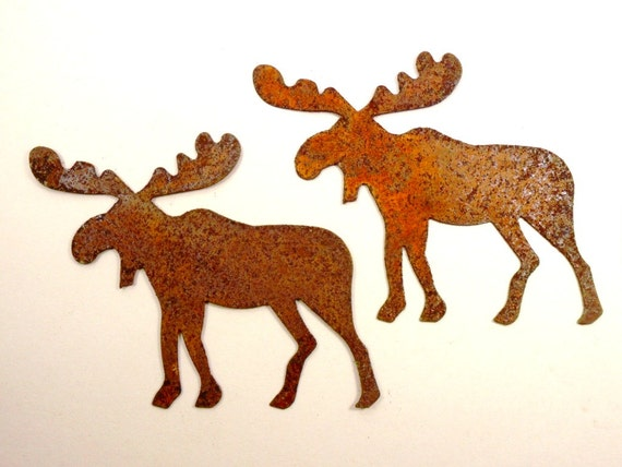 5 Rusty Moose Tin Cut Outs 5 Pieces
