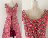 SALE 1960's Quilted Red Long Floral Print Lace Up Vest & Matching Shorts German Hippie Octoberfest Dirndl Size XS by Maeberry Vintage