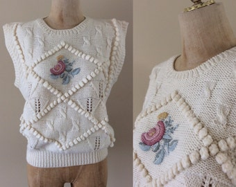 1980's Wool Cable Knit Spring Sweater w/ Floral Embroidery Pullover Vintage Sweater Size Small Medium by Maeberry Vintage