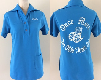 "1970's Turquoise Polyester Bowling Shirt ""Once More 'For Olde Time Sake'"""