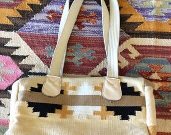 1970's Kilim Black, White, & Mustard Yellow Bag Vintage Shoulder Bag by Maberry Vintage
