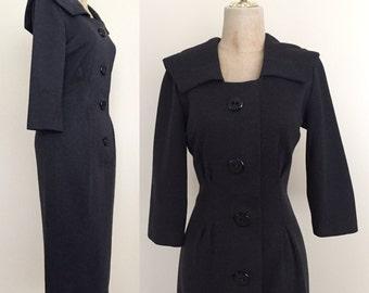 1960's Heather Grey Knit Wiggle Dress Size Small by Maeberry Vintage