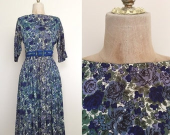 40% OFF 1950's Floral Print Jersey Knit Vintage Fit + Flare Dress Sz Small by Maeberry Vintage