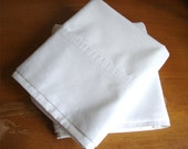 Vintage Pair of Bright White Cotton Muslin Pillowcases by West Point Stevens