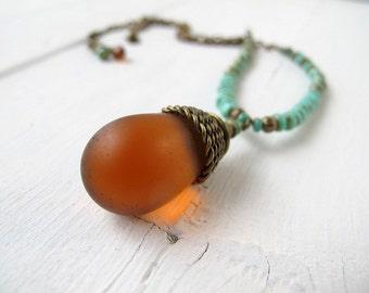 Bohemian Teardrop Necklace, Czech Glass Jewellery, Large Topaz Briolette, Bohemian Bijoux, Boho Hippie Chic, Collar Length Necklace