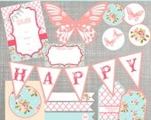Shabby Chic Birthday Party Decorations - Shabby Chic Baby Shower Decorations - PRINTABLE / DIY - Shabby Chic Collection