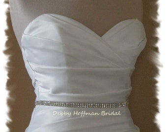 Thin Wedding Sash, Rhinestone Bridal Sash, Jeweled Bridal Belt, Crystal Belt, Skinny Rhinestone Bridesmaid Sash Belt, No. 6000S, SALE