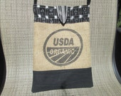 RESERVED FOR RENEA - Upcycled Coffee Eco Friendly Bohemian Tribal Hippie Crossbody Bag