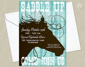 Turquoise Cowgirl Birthday Party Invitation - Horse Back Riding Birthday Party  Invitation  - Horse Birthday Party Invitation
