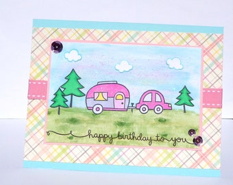 Happy Birthday RV Camping Greeting Card - Handmade Paper Card for Her Pink Trailer Girlie Cards - Wife Sister Girlfriend Outdoors Mountain