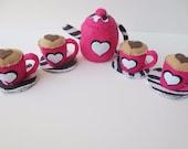 Felt Tea Set - Pink and Zebra Tea Pot, 4 Teacups and Saucers