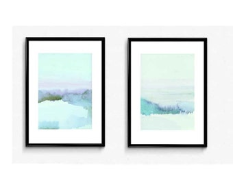 Landscape blue Watercolor landscape painting blue landscape set of 2 watercolor paintings giclee prints  the blue hour