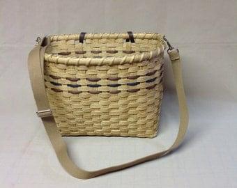 Bicycle Basket, Tote Basket, Hand Woven, Adjustable Shoulder Strap