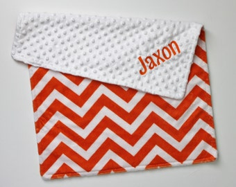 Orange and White Chevron PERSONALIZED DOUBLE MINKY Blanket or Lovey
