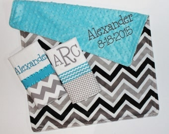 Personalized DOUBLE MINKY CHEVRON Baby Boy Blanket or Lovey Plus 2 Burp Cloths - Turquoise and Gray