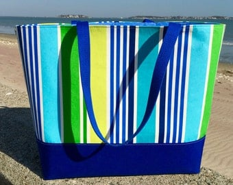 Large TOTE bag, large beach bag, water resistant, boat tote, diaper bag, overnight bag, teacher tote in blue, green and white stripes