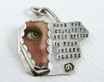 Have The Courage Jewelry, Stamped Courage Jewelry, Sterling Silver And Ceramic Pendant, Robin Wade Jewelry, Courage To Grow Strong - 1792