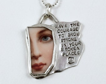 Sterling Silver And Ceramic Plate -The Courage To Grow - Echo Friendly Courage Jewelry - Courage Empowerment - Art Jewelry Pendant - 2032