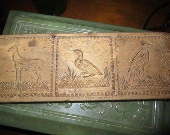 Antique Wooden Folk Art Mold/Cookie Mold/ Butter Mold/Carved Wooden Animal Bird Mold